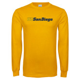 Gold Long Sleeve T Shirt-UC San Diego Wordmark