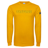 Gold Long Sleeve T Shirt-Tritons Wordmark