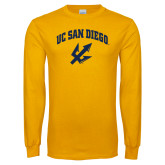 Gold Long Sleeve T Shirt-UC San Diego Arched Over Trident
