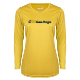 Ladies Syntrel Performance Gold Longsleeve Shirt-UC San Diego Primary Mark