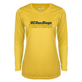 Ladies Syntrel Performance Gold Longsleeve Shirt-UC San Diego Tritons Mark