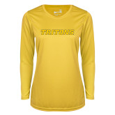 Ladies Syntrel Performance Gold Longsleeve Shirt-Tritons Wordmark