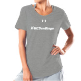 Ladies Under Armour Grey Charged Cotton Tee-UC San Diego Primary Mark