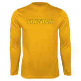 Performance Gold Longsleeve Shirt-Tritons Wordmark