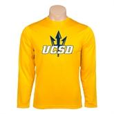 Performance Gold Longsleeve Shirt-UCSD w/Trident