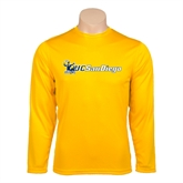 Performance Gold Longsleeve Shirt-Official Logo w/UC San Diego