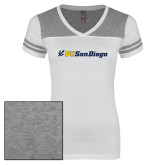 Ladies White/Heathered Grey Juniors Varsity V Neck Tee-UC San Diego Primary Mark