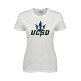 Ladies White T Shirt-UCSD w/Trident