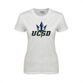 Ladies White T Shirt-UCSD w/Trident