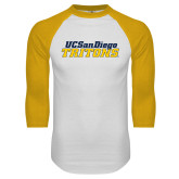 White/Gold Raglan Baseball T Shirt-UC San Diego Tritons Mark