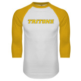 White/Gold Raglan Baseball T Shirt-Tritons Wordmark