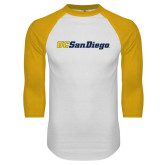 White/Gold Raglan Baseball T Shirt-UC San Diego Wordmark
