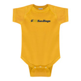 Gold Infant Onesie-UC San Diego Primary Mark