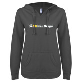ENZA Ladies Dark Heather V Notch Raw Edge Fleece Hoodie-UC San Diego Primary Mark
