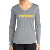 Ladies Syntrel Performance Platinum Longsleeve Shirt-Tritons Wordmark