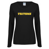 Ladies Black Long Sleeve V Neck Tee-Tritons Wordmark