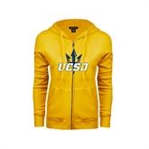 ENZA Ladies Gold Fleece Full Zip Hoodie-UCSD w/Trident