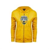ENZA Ladies Gold Fleece Full Zip Hoodie-UC San Diego Crest