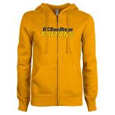 ENZA Ladies Gold Fleece Full Zip Hoodie-UC San Diego Tritons Mark