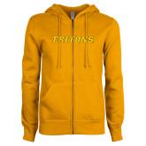 ENZA Ladies Gold Fleece Full Zip Hoodie-Tritons Wordmark