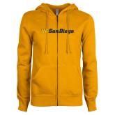 ENZA Ladies Gold Fleece Full Zip Hoodie-UC San Diego Wordmark