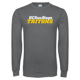 Charcoal Long Sleeve T Shirt-UC San Diego Tritons Mark