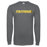 Charcoal Long Sleeve T Shirt-Tritons Wordmark