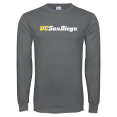 Charcoal Long Sleeve T Shirt-UC San Diego Wordmark