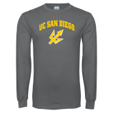 Charcoal Long Sleeve T Shirt-UC San Diego Arched Over Trident