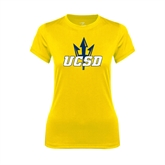 Ladies Syntrel Performance Gold Tee-UCSD w/Trident