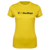 Ladies Syntrel Performance Gold Tee-UC San Diego Primary Mark