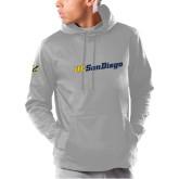 Under Armour Grey Armour Fleece Hoodie-UC San Diego Wordmark