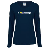 Ladies Navy Long Sleeve V Neck Tee-UC San Diego Primary Mark