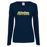 Ladies Navy Long Sleeve V Neck Tee-UC San Diego Tritons Mark