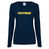 Ladies Navy Long Sleeve V Neck Tee-Tritons Wordmark