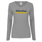 Ladies Grey Long Sleeve V Neck Tee-UC San Diego Tritons Mark