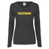 Ladies Dark Heather Long Sleeve V Neck Tee-Tritons Wordmark
