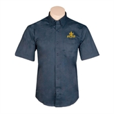 Navy Twill Button Down Short Sleeve-UCSD w/Trident