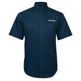 Navy Twill Button Down Short Sleeve-UC San Diego Primary Mark