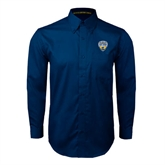 Navy Twill Button Down Long Sleeve-UC San Diego Crest