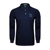 Navy Long Sleeve Polo-Official Logo