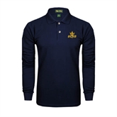 Navy Long Sleeve Polo-UCSD w/Trident