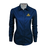 Ladies Navy Twill Button Down Long Sleeve-UCSD w/Trident