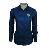 Ladies Navy Twill Button Down Long Sleeve-UC San Diego Crest