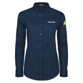 Ladies Navy Twill Button Down Long Sleeve-UC San Diego Wordmark