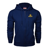 Navy Fleece Full Zip Hoodie-UCSD w/Trident