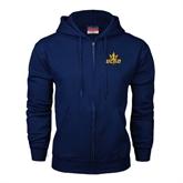 Navy Fleece Full Zip Hood-UCSD w/Trident