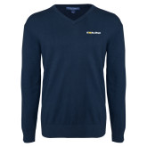 Classic Mens V Neck Navy Sweater-UC San Diego Primary Mark