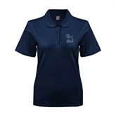Ladies Easycare Navy Pique Polo-Official Logo