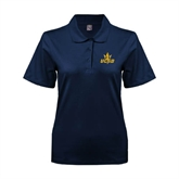 Ladies Easycare Navy Pique Polo-UCSD w/Trident
